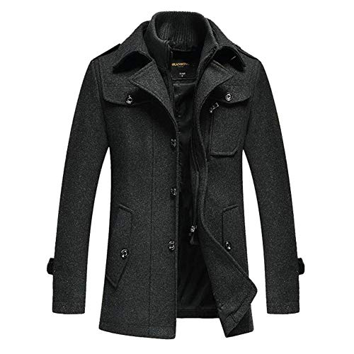 GUOQIAN Mens Long Double Breasted Trench Coat Gentlemen Formal Wear Jacket Overcoat Outfits Pea Coats,Gray,XXXL
