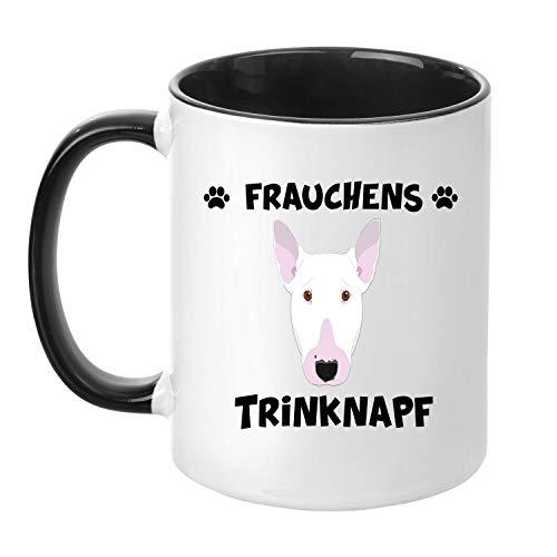 TassenTicker® - ''Frauchens Bullterrier Trinknapf'' - Kaffeetasse - Hunde-Tasse - Hundebesitzerin - Frauchen - Geschenkidee - Schwarz