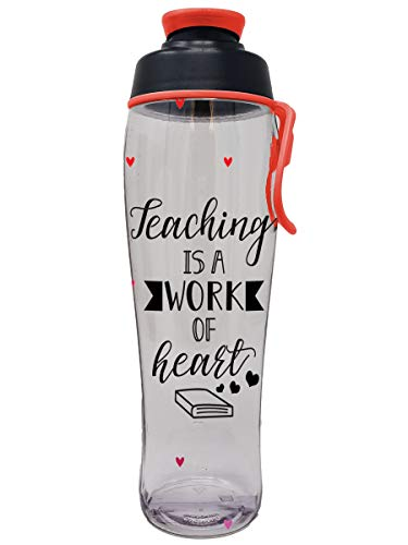50 Strong Teacher Water Bottle - BPA Free for Teachers - Give Bottles As Thank You Gifts & Appreciation for Teachers - Easy Carry Loop - Made in USA (Teacher Hearts, 24 oz.)