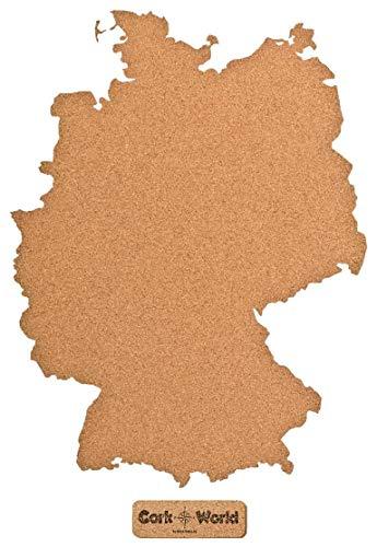 Duitslandkaart kurk XXL 60 x 80 cm   Omtrek Duitsland om te prikken en als wanddecoratie   Geweldig CORKWORLD prikbord   Gedetailleerde & Hoogwaardig   Voor globetrotters en reizigers – kurk