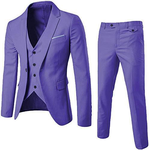 Mens 3-Piece Suit Notched Lapel One Button Slim Fit Formal Jacket Vest Pants Set (Violet, Medium)