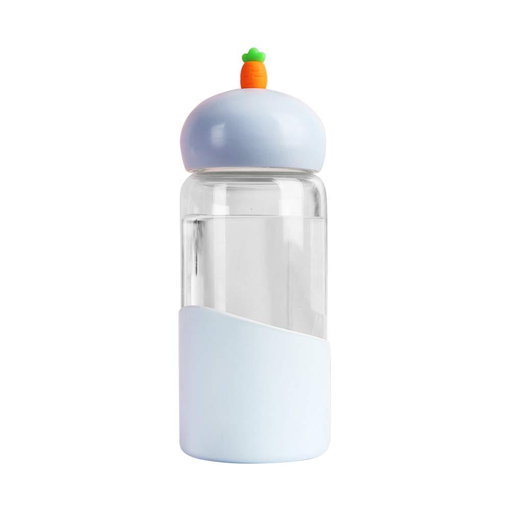 BESTonZON Botella de Vidrio Transparente Cabeza de rábano Funda de Silicona Botella de Agua Botella de Bebida para Estudiantes Resistente a Altas temperaturas (Cabeza de rábano Azul Cielo): Amazon.es: Hogar