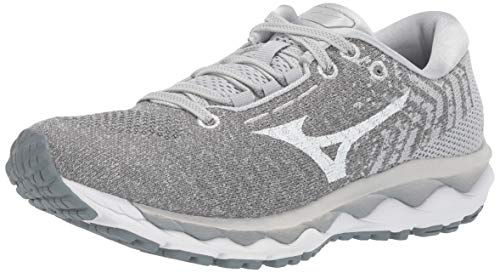 Mizuno womens Wave Sky Waveknit 3 Running Shoe, Glacier Gray-white, 7.5 US