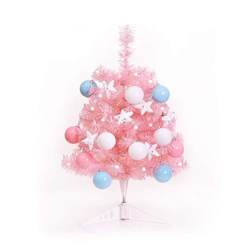 Paquete de árbol de Navidad de color rosa conocido, adecuado para reuniones familiares de ventana, decoración de escritorio de fiesta de Navidad, decoraciones de Navidad 60 cm S