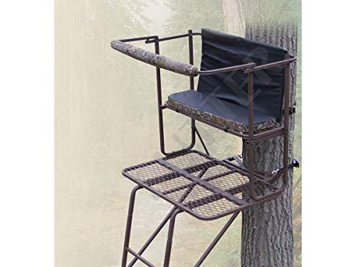 Transportabler 2-Man Hochsitz & Ansitzleiter 5,0m / aus robustem Stahl, gepolsterte Sitzfläche & Rückenlehne