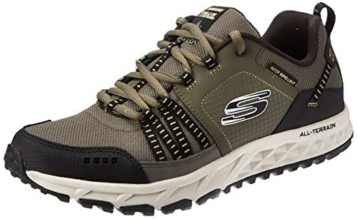 Skechers Escape Plan 51591 Sneaker Herren, Grün (Olive Leather/Mesh/Black Trim Olbk), 42.5 EU