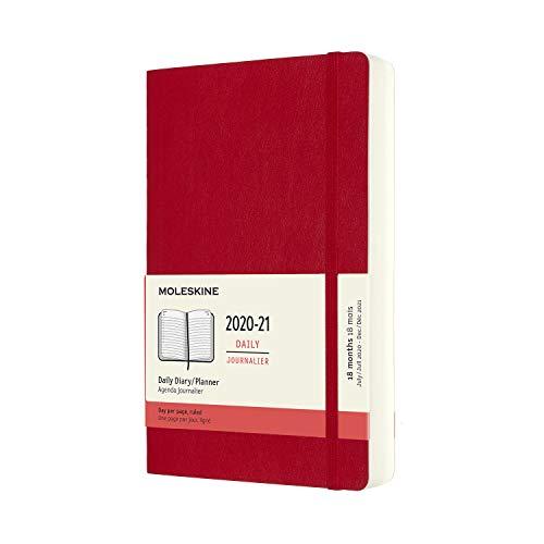 Moleskine - Agenda Giornaliera 18 Mesi, Agenda 2020/2021, Daily Planner con Copertina Morbida e Chiusura ad Elastico, Formato Large 13 x 21 cm, Colore Rosso Scarlatto, 608 Pagine
