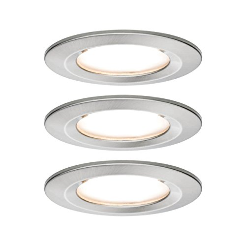 Paulmann 93458 Einbauleuchte LED Coin Nova rund 6,5W Eisen 3er-Set starr IP44 spritzwassergeschützt