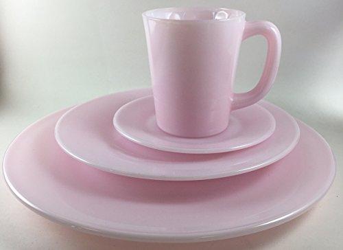Plain & Simple - Bread/Salad/Dinner Plates & Coffee Mug - Mosser Glass USA - 4 Piece Tableware Setting (Crown Tuscan)