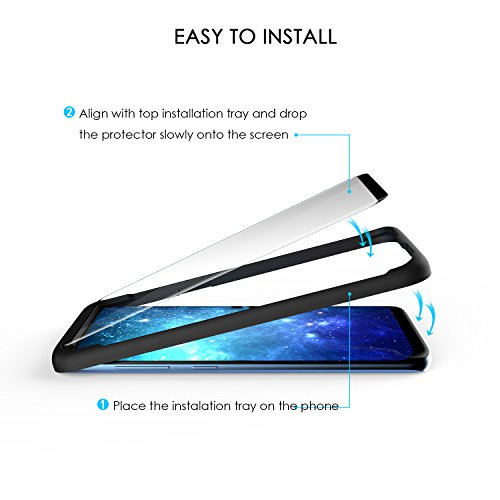 Galaxy S8 Plus Tempered Glass Screen Protector with Installation Tray 3D Curved, Otium Invisible Glue Mark, 100% Touch Sensitivity, Case Friendly, Bubble Free, for Galaxy S8 Plus 6.2