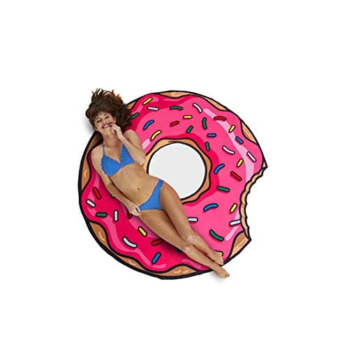 Big Mouth Donut Telo Mare, Microfibra, Multicolore, 152x152x1 cm