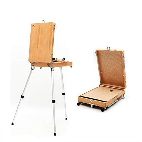 Soporte de madera Pintura de caballete Bocetos de bocetos para la tabla de caballete del artista para dibujar aleación de aluminio Caja de artísticos Artículos de arte Suministros de arte caballetes p