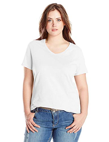 Just My Size Women's Plus-Size Short Sleeve V Neck Tee, White, 2X
