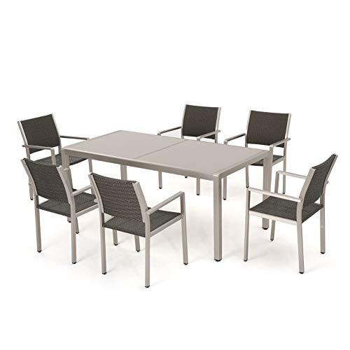 Christopher Knight Home Cape Coral Outdoor Aluminum Dining Table with Tempered Glass Top, Grey