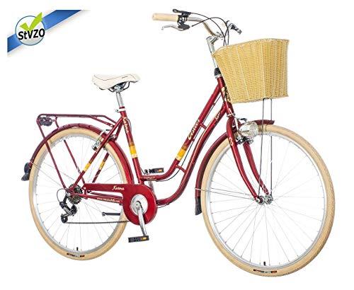 breluxx® 28 Zoll Damenfahrrad Venera Fashion Karma rot Citybike mit Korb + Licht, Retro Bike, 6 Gang Shimano, Modell 2020