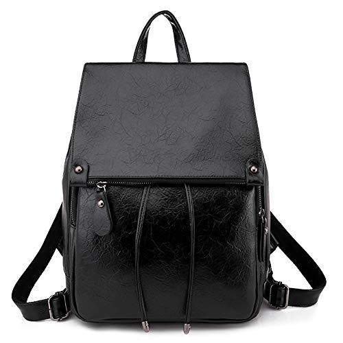 VECOLE Rucksäcke Damen Europa und Amerika Europa und Amerika Mode Retro PU Material Rucksack Clutch Rucksack Campus Student Bag Schulranzen(Schwarz)