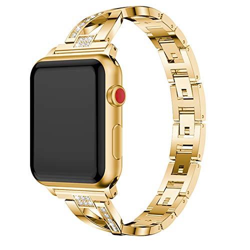 CHENPENG Correa de reemplazo, Compatible con Apple Watch 38mm 42mm, Mujeres Acero Inoxidable Correas de Metal Banda de Banda Accesorios de Pulsera,Oro,38mm