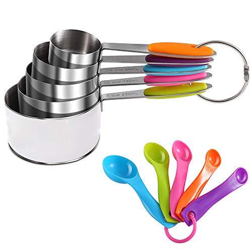 Tazas de medir y cucharas medir, cucharas para hornear acero inoxidable con mango silicona, cucharas medir color, herramientas medición para hornear ingredientes secos y líquidos (10 piezas)