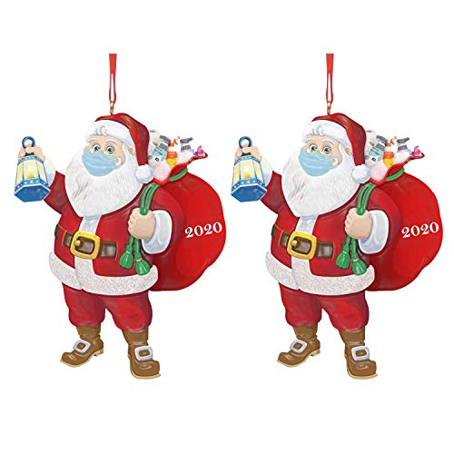 IQUARK 2020 Santa Claus Ornaments with Mask, Christmas Ornaments Santa Wearing A Face Mask and Carrying a Gift Bag, Christmas Tree Decorations Hanging Pendant Decor Xmas Gift (2pc-d)