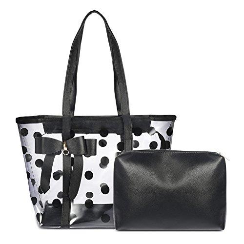 Vbiger Borse da Spiaggia Moda Tote bag impermeabile per Donna (Bianco con Nero)