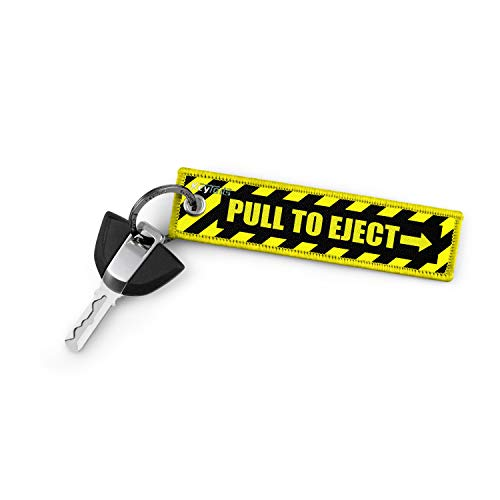 KEYTAILS Keychains, Premium Quality Key Tag for Motorcycle, Car, Scooter, ATV, UTV [Pull to Eject - Yellow]