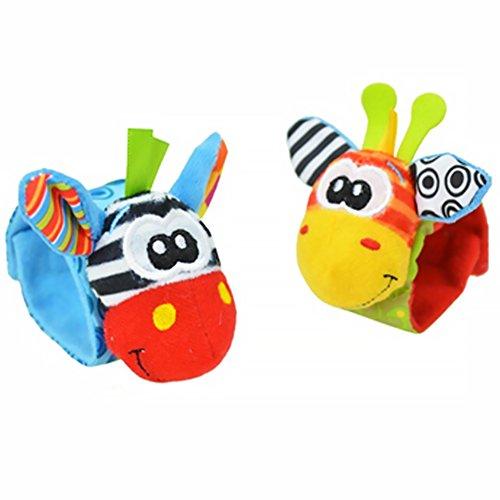 Isuper Sonajero Pulsera,Baby muñeca de Jirafa Sonajeros motricidad Juguete Juguetes para bebés de 0 a 3 años (2PCS/Color Aleatorio)