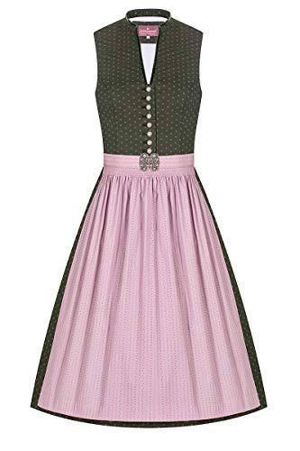 Lieblingsgwand Midi Dirndl 65cm Oliv rosa Gemustert Stretch Emma 007345, traditionelles Waschdirndl mit V-Ausschnitt und schmalem Stehkragen, Dirndl aus Baumwolle mit Stretch-Anteil 36