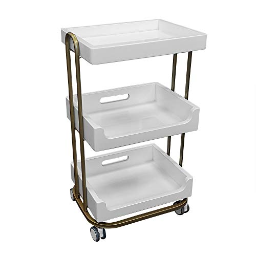 TOA Supply 3 Shelf Wooden Tray Cart White Storage Trolley Rolling Beauty Salon Hair Spa