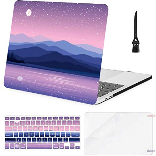 MacBook Pro Case C Mountains Lake Forest On Starry MacBook Retina 12' A1534 Plastic Case Keyboard Cover & Screen Protector & Keyboard Cleaning Brush