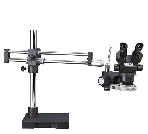 LX Microscopes by Unitron 23726RB-ESD System 273RB-LED-ESD Safe Binocular Stereo-Zoom Microscope with Roller Bearing Stand, LED-3000 Ring Light, 23 mm