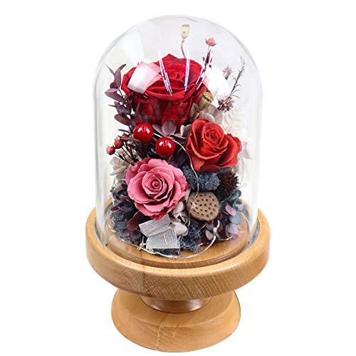 DKFS Eeuwige bloem tafellamp massief hout basis roos bloem licht glazen pot Tanabata rood