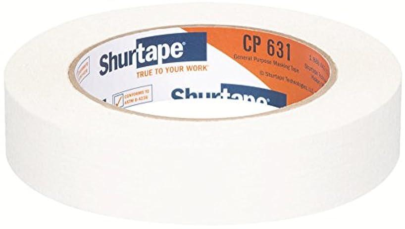 Shurtape CP 631 General Purpose Grade, Medium-High Adhesion Colored Masking Tape, 24mm x 55m, White, Case of 36 Rolls (147907)