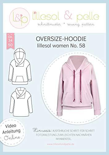 lillesol & pelle Schnittmuster lillesol Women No.58 Oversize-Hoodie in Größe 34-50 zum Nähen mit Foto-Anleitung und Video