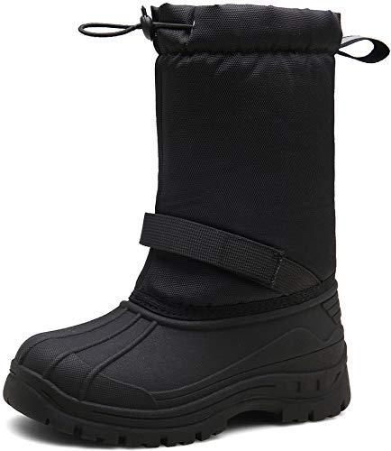 JACKSHIBO Winterstiefel Mädchen Kinderstiefel Schneestiefel Kinder Junge Stiefeletten Warme Weiche Boots Wasserdicht Stiefel, 2Schwarz 33 EU