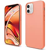 elago Compatible with iPhone 12 Case and Compatible with iPhone 12 Pro Case 6.1 inch, Liquid Silicone Case, Full Body Protection (Screen & Camera Protection), Soft Microfiber Lining - Orange