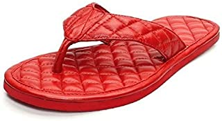 Bareskin Red Quilted Leather Slippers for Men