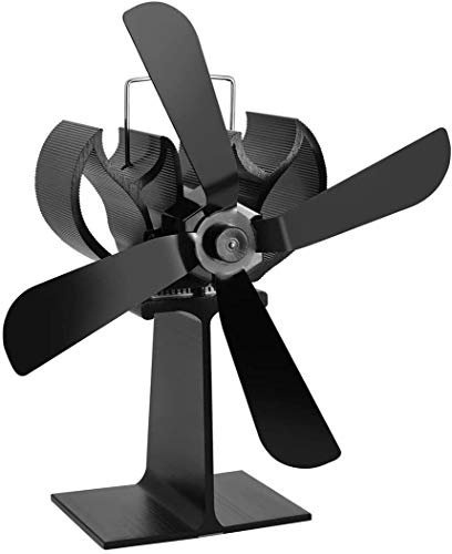 NAYY Holzofen Fan Hitze Powered, Minigröße Aluminium Silent-Umweltfreundlich for Holz Holzofen Kamin Effiziente Wärmeverteilung (Color : Black)