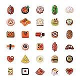 PandaHall - 60 colgantes de resina para alimentos, 30 estilos, pan, chocolate con sopa de palabras, gofres, kebab, caviar, huevo, pastel, arroz, hamburguesa, ñame, chips, abalorios