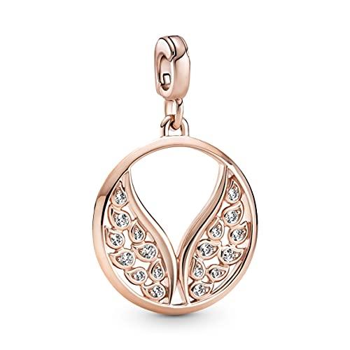 Pandora Medallón de alas de ME llamando de aleación de metal chapado en oro rosa de 14 quilates y circonita cúbica, compatible con pulseras Pandora ME 789672C01