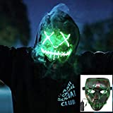 NIGHT-GRING Frightening EL Wire Halloween Cosplay Led Mask Light Up Mask for Festival Parties Green...