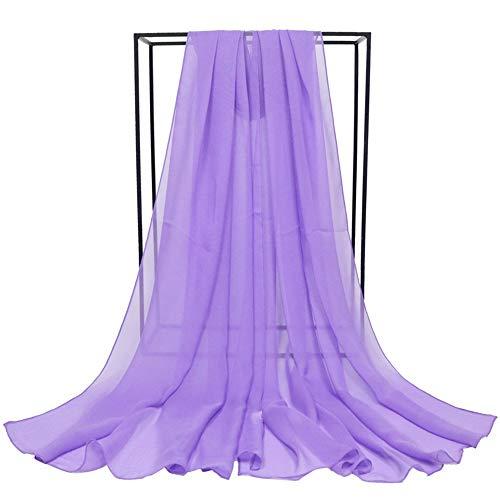Sciarpa Di Seta Di Grandi Dimensioni Per Donna, Sciarpa In Tulle Di Colore Puro, Sciarpa Per La Protezione Solare A Scialle Alla Moda All-Match