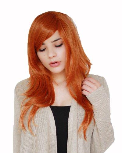 Prettyland Perruque Coupe longue Orange clair 60cm Franges longues échelonnées raide résistant à chaleur C631