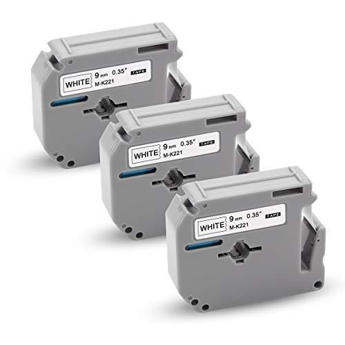 Xemax kompatibel Etikettenband Ersatz für Brother P-touch MK-221 M-K221 MK221 Kassette Bänder für PT-65 PT-60 PT-90 PT-55 PT-70BM PT-75 PT-85 PT-100 PT-110 PT-BB4, Schwarz auf weiß, 9mm x 8m, 3er