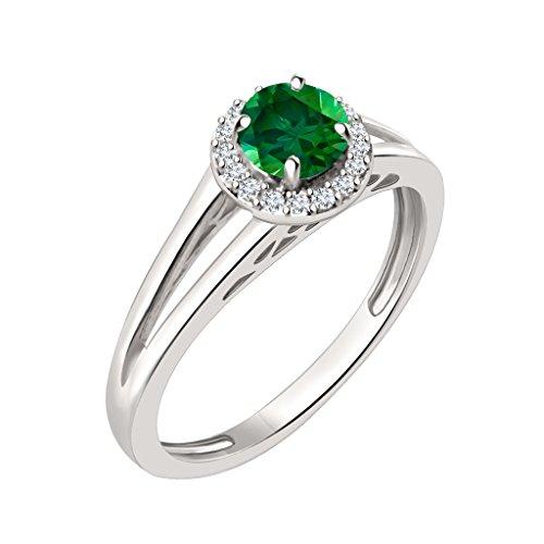 Silvernshine Jewels - Anillo de compromiso con diamantes de imitación y esmeralda verde de 7 mm en oro blanco de 14 K sobre