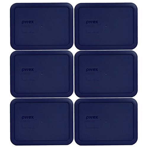 Pyrex 7210-PC 3 Cup Blue Rectangle Plastic Lid (6, Blue)