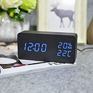 JULY'S Song Wooden LED Alarm Clock Despertador Temperature Humidity Electronic Desktop Clock Digital Table Clocks Night Light