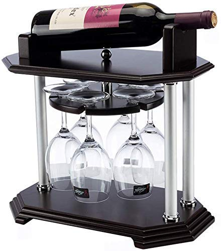 Elegante Y Simple Estantería para Vino Giratoria, Exhibición de Barra de Madera Maciza Vintage, Decoración Del Hogar, Soporte para Copas Decoración de Vitrina (36X22X35 Cm), HJJ