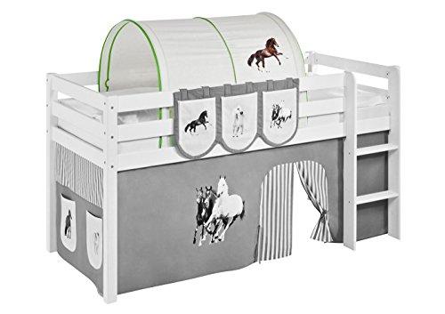 Lilokids Tunnel Pferde Grün Beige - für Hochbett, Spielbett und Etagenbett