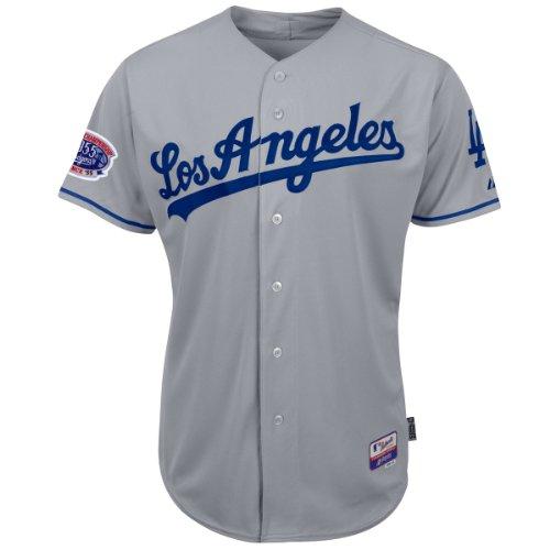 MLB Los Angeles Dodgers Herren Trikot 6 Tasten Cool Base Authentic Road Jersey, Herren, Grau, 40/Medium