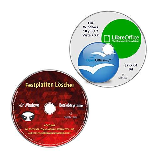 OpenOffice & LibreOffice, vorlagen & Softwarepaket + Festplatten Löscher & Formatiere, Datenvernichter, Sichere Datenlöschung für Windows 10 / 8 / 7 / Vista / XP (32 & 64 Bit) (2 CD/DVD Spar-Set)